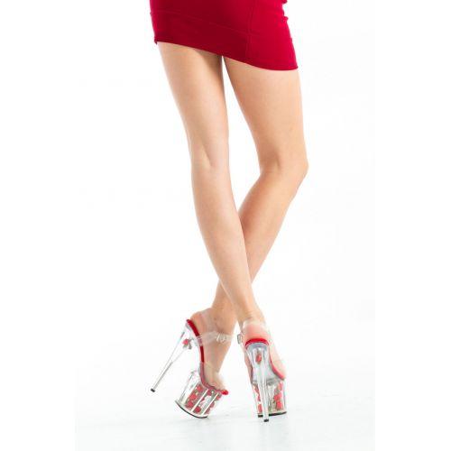 Buty- platformy z różami- czerwone 36